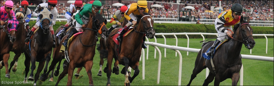 A horse with an easy lead ahead of the pack