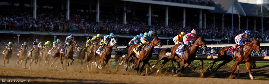 The Kentucky Derby field rounds the first turn.